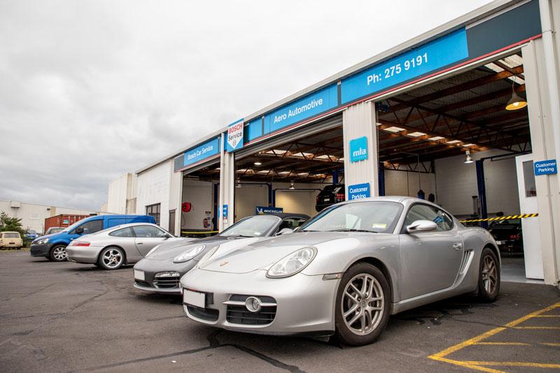 Porsche parked outside of Aero Automotive
