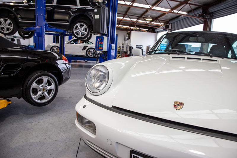 White Porsche in workshop
